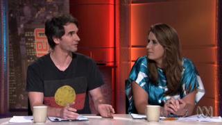 Todd Sampson wearing an Aboriginal flag t-shirt