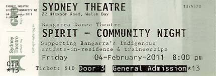 Ticket for community night of Bangarra Dance Theatre