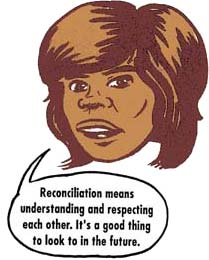 Cartoon head saying: Reconciliation means understanding and respecting each other. It's a good thing to look to in the future.