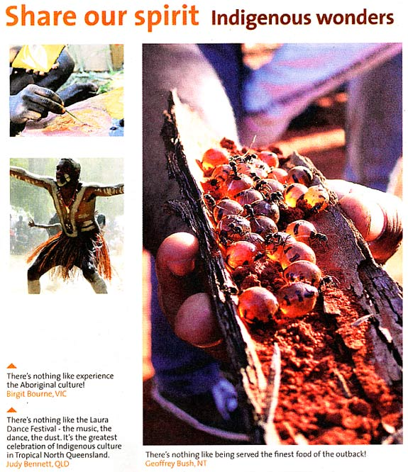 Detail from an advertising feature showing an Aboriginal hand painting, an Aboriginal dancer and a piece of bark with honey ants.