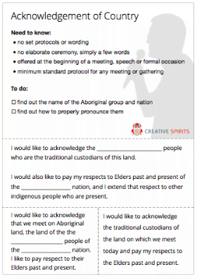 Thumbnail of an Acknowledgement of Country cheat sheet.