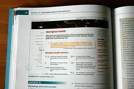 A screenshot of the health section of this site printed in a textbook.